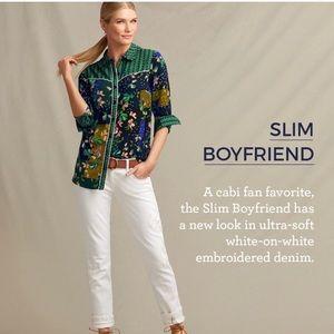 CAbi Slim Boyfriend White Embroidered Jean, Size 2